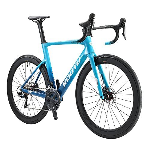 KOOTU Bicicleta de carretera T800 de fibra de carbono, ruedas 700C, bicicleta de carretera de 22 velocidades para adultos con freno de disco hidráulico Shimano ULTEGRA R8020 y sillín Fizik (azul 51cm)