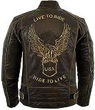 Motorrad Lederjacke mit einer Adler Prägung (XL)