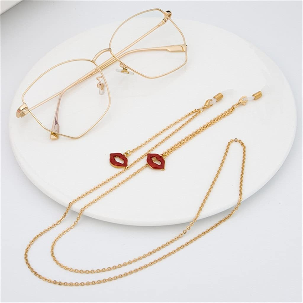 SSMDYLYM Red Lip Pendant Cords Reading Glasses Chain Fashion Women Sunglasses Accessories Ethnic Style Lanyard Hold Straps (Color : A, Size : Length-70CM)