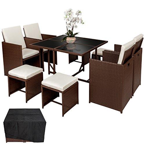 TecTake Poly Rattan Aluminium Sitzgruppe Cube | 4 Stühle 1 Tisch 4 Hocker | Schutzhülle & Edelstahlschrauben - Diverse Farben - (Mixed Braun | Nr....