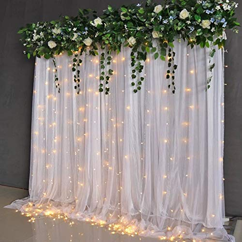 10ftX10ft Silk Curtain with LED for Wedding,Stage,Party,Home Photography Backdrop Decoration Easy Setup 2 Layers