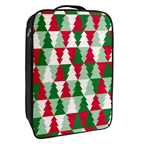 Shoes Storage Box Travel & Daily Use Christmas Tree Shape Pattern Shoe Bag Organizer Portable Waterproof Up to 12 Yards with Double Zipper and 4 Pockets