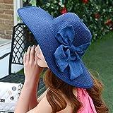 NJJX Verano Sombrero De Paja De ala Grande Mujeres Adultas Niñas Moda Sombrero para El Sol Protección UV Arco Grande Sombrero De Playa De Verano 6