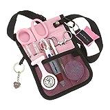 AsaTechmed Medical Belt Utility Kit, Nurse Pro Pack Pocket Organizer Pouch Hip Bag | Antimicrobial, EMT, CNA, NP, PA, Student, Nurse Kit (Pink)
