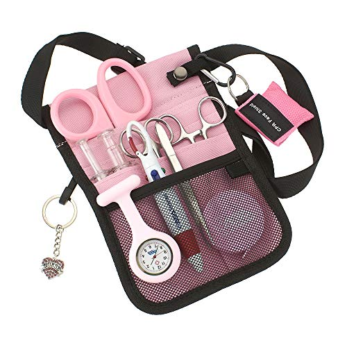 ASA Techmed Medical Belt Utility Kit, Nurse Pro Pack Pocket Organizer Pouch Hip Bag   EMT, CNA, NP, PA, Student, Nurse Kit (Pink)
