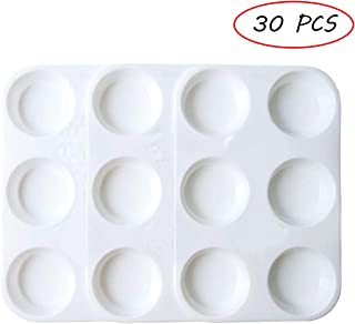 Amersumer 30 PCS Plastic Paint Palettes Rectangular Watercolor Palette Painting Tray for DIY Craft and Art Painting(White)