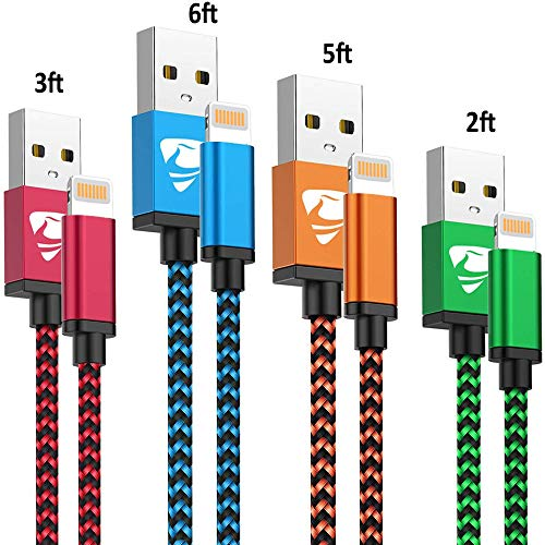 iPhone Charger Cord 4Pack iPhone Charger Cable MFi Certified Lightning Cable Fast iPhone Charging Cord Nylon Braided iPhone Charging Cable Compatible with Phone 11 Pro max/XR max/8/7/6/6s/SE 2020iPad