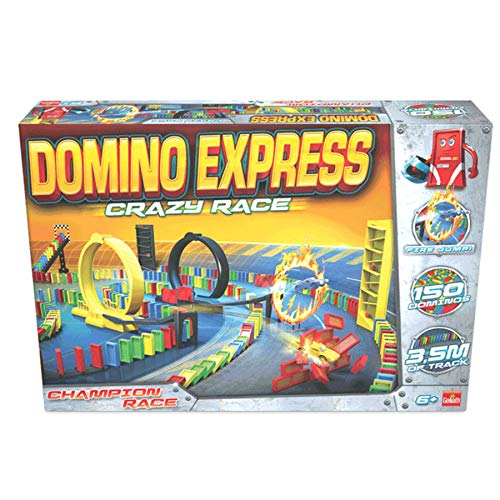 Goliath 81008 - Domino Express Crazy Race, Domino-Set für Ihnen eigenen Domino Day, Aufregende Stunts mit Dominosteinen und viel Zubehör, ab 6 Jahren