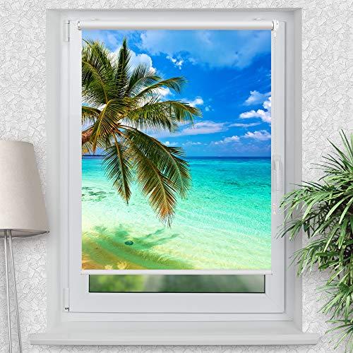 La-Melle » Rollo Palme Meer | Verschiedene Größen | Klemmrollo ohne Bohren | auch für Wand- oder Deckenbefestigung, Größe: B 90 x H 120 cm