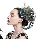 Damen 1920s Zubehör Pfau Fascinator Feder Kostüm Haarspange Flapper Kopfstück Hut Zubehör (A)