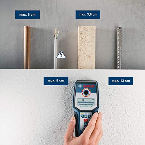 Bosch Professional Digitales Ortungsgerät GMS 120 (1 x 9 V Block Batterie, Schutztasche, max. Ortungstiefe Stahl/Kupfer/stromführende Leitungen: 120/80/50 mm) - 3