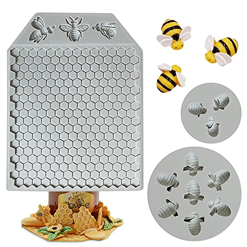 Auralto 3Pcs 7 Cavity Bumble Bee Silicone Mold Honeycomb Bees Silicone Fondant Cake Mold Beehive Silicone Baking Molds, Silicone Cupcake Cake Decorating Fondant Candy Baking Cake Moulds