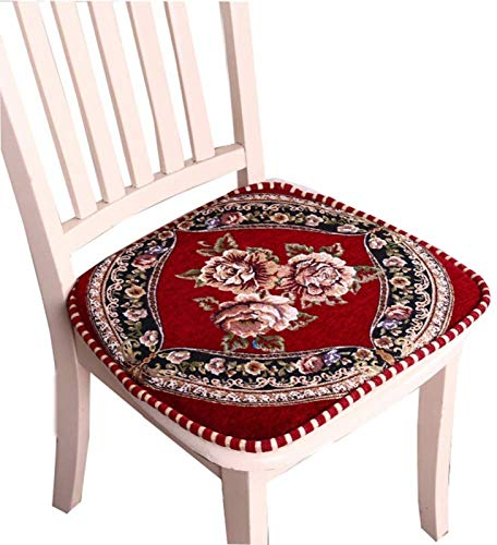 European Embroidery Chair Pads Sitzkissen mit Krawatte für Home Office Dinning Chair Indoor Outdoor Seat Chair Pad,Red-setof2