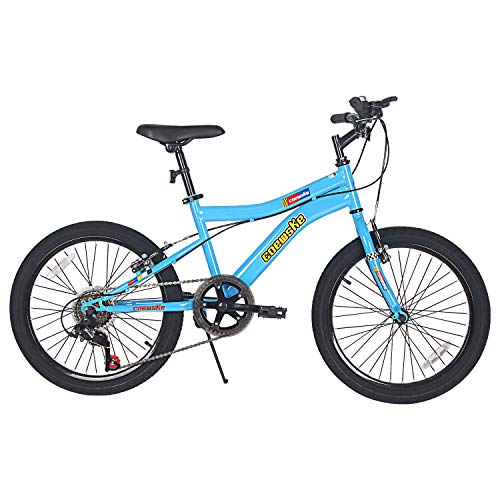 FOUJOY Kids Bike 20 Inch Mountain Bike Steel Frame 6 Speed with Kickstand Fit for 6-12 Years Old Or 48-60 Inch (Blue)