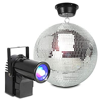 beamz Hanging Glitter Mirror Ball 30cm with Motor and PS10W LED Spot Light for Wedding Disco Prom Dance Hall