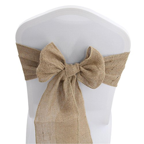 "Jute Burlap Chair Sashes Bows - 50 PCS Natural Banquet Wedding Party Event Decoration Hessian Chair Ties (7"" x 108"",50)"