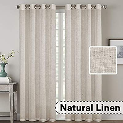 H.VERSAILTEX Natural Effect Extra Long Curtains Made of Linen Mixed Rich Material, Nickel Grommet Curtains Pair Window Curtains/Drape/Panels for Bedroom (Set of 2, 52 by 108 Inch, Angora)