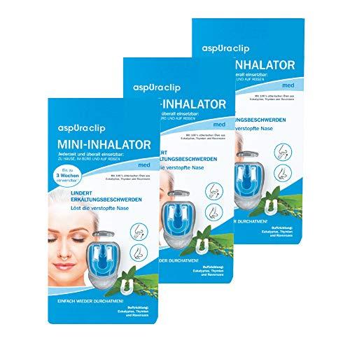 aspUraclip Mini-Inhalator med (3er Pack) | Erster Mini-Inhalator für die Nase | Mit 100{0be92046aff2e87f7674bcece341c4641aaefa7cf92d166aa92612e52afdcbb7} Bio-Ölen aus Eukalyptus, Thymian und Ravensara | Ätherische Öle können Erkältungsbeschwerden lindern