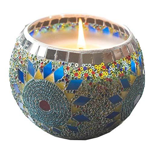 VOSAREA Schüssel Kerzenleuchter Kerzenhalter Mosaik Glas Sonnenblume Teelicht Kerzenständer für Valentinstag Hochzeitsfeier (Keine Kerze)