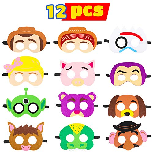 MALLMALL6 Toy 4th Masks Birthday Party Supplies Toys 4th Adventure Party Favors Dress Up Costume Mask Include Woody Buzz Lightyear Bo Peep Bullseye Slinky Dog Jessie Rex for Kids