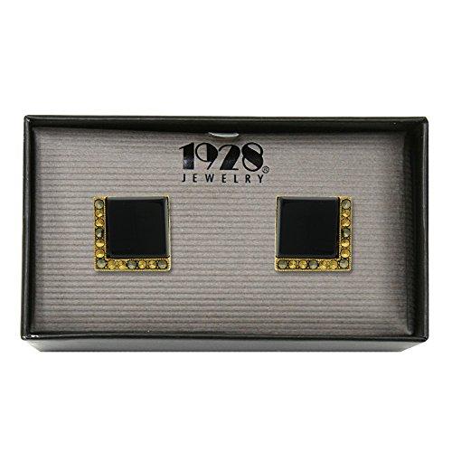 1928 Jewelry Gold-Tone Semi-Precious Square Cuff Links