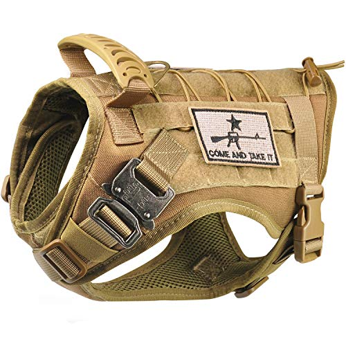 Tactical Service Dog Vest Harness K9 Military Molle Dog Vest for Outdoor Training Hunting Waterproof Pet Dog Harness with Rubber Handle & Metal Buckle