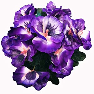 Ximkee Artificial Pansy Flowers for Home Office Decoration-(1pcs Purple)