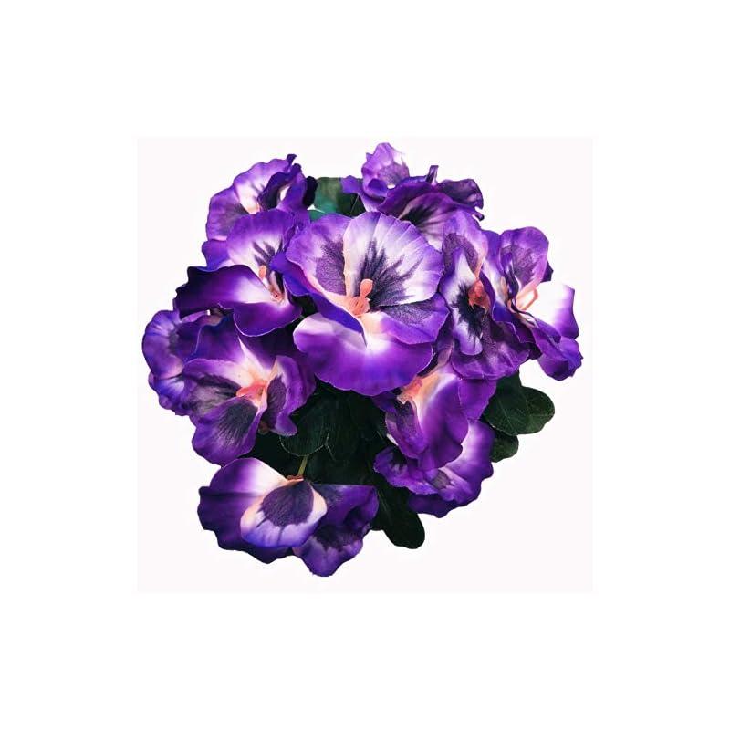 silk flower arrangements ximkee artificial pansy flowers for home office decoration-(1pcs purple)