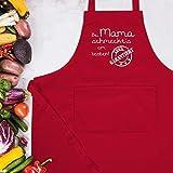 Schürze mit Motiv - Bei Mama schmeckt's am besten - 80 cm x 73 cm (H x B) - Rot - kochschürze bei mama - X967 - Schürze und Kochschürze für Erwachsene - 5
