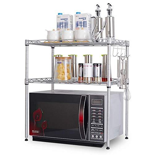 WY-YAN Cocina Microondas Estante Estantería de 2 Niveles Ajustables de Acero al Carbono de Almacenamiento Estante de múltiples Funciones (Color: Plata, Tamaño: 55X60X35CM)