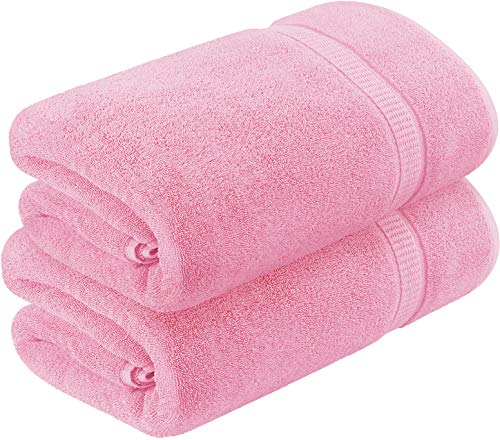 Utopia Towels - Badetuch groß aus Baumwolle 600 g/m², 2er Pack - Duschtuch, 90 x 180 cm (Rosa)