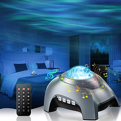Proyector Estrellas, Aurora Galaxy Proyector con Bluetooth y 8 Blanco Ruido LED lampara de Estrellas Remoto luz Nocturna para Habitación Fiesta Decoración, Control de voz para Niños Adultos - Gris