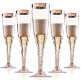 Rose Gold Plastic Champagne Flutes Disposable - Rose Gold Glitter with a Rose Gold Rim - [1 Box of 36 ] 6.5 Oz - Elegant Stylish Mimosa Glasses Perfect for Weddings Bachelorette Party, Catered Events