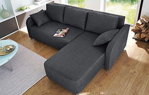 lifestyle4living Ecksofa, Wohnlandschaft, schwarz, Gästebett, Bettkasten, 3 großen Rückenkissen, 2 kleinen Zierkissen, Schenkelmaß 223/151 cm