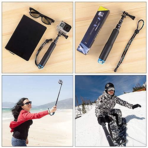 "Trehapuva Selfie Stick, 19"" Waterproof Extension Hand Grip Adjustable Monopod Pole Compatible with GoPro Hero(2018) Hero 10 9 8 7 6 5 4 3+ 3 Session, AKASO, Xiaomi Yi,SJCAM SJ4000 SJ5000 SJ6000 More"