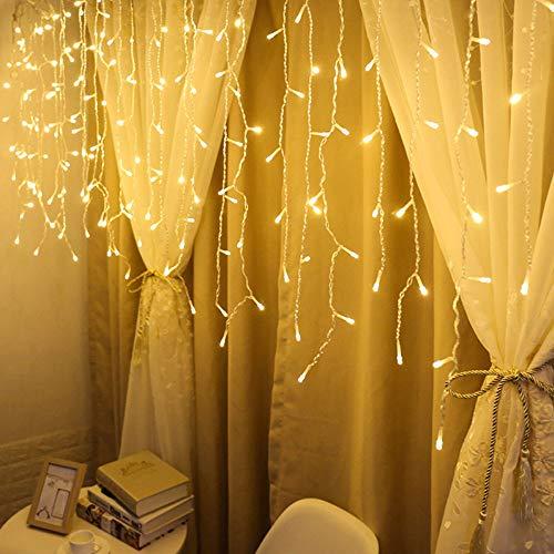 LED Lichterkette,goodjinHH 1.5M 48er LED Warmweiß Lichtervorhang, Kupferdraht IP44 Wasserdicht 8 Modi Lichterketten Deko für Garten Weihnachten Hochzeiten Partys (Gelb)