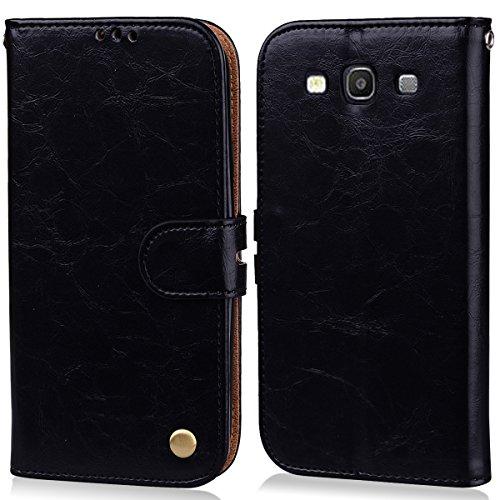 MoEvn Cover per Samsung S3 Neo, Custodia Galaxy S3 Neo Pelle PU e Silicone Premium Luxury PU Leather Flip Wallet Case Supporto Porta Carte Chiusura Magnetica Portafoglio Protettivo Caso Nero