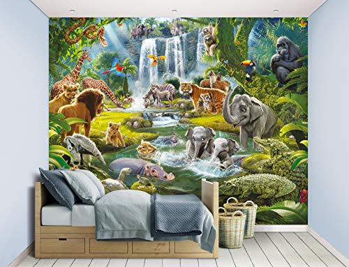 Walltastic Jungle Wall Wallpaper Murals, FSC Mix Papier, Multi, 8ft H x 10 ft W, One Size