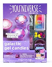 YouNiverse Galactic Gel Candles by Horizon Group Usa, Stem Science Kit, Make Your Own Starry Gooey Gel Slime Candles, 4 LED Candles Included, Pink, Blue, Purple
