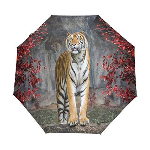 Regenschirm mit Tiermotiv, Tiger, Ahorn, Baum, kompakt, UV-Schutz, wasserdicht, automatisches Öffnen