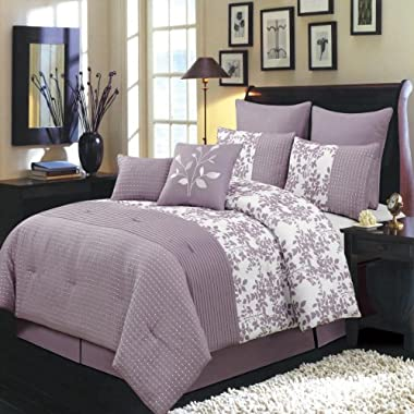 Bliss Purple and White Queen size Luxury 8 piece comforter set includes Comforter, bed skirt, pillow shams, decorative pillows