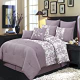 Royal Hotel Bliss Purple and White Queen Size Luxury 12 Piece Comforter Set Includes Comforter, Bed Skirt, Pillow Shams, Decorative Pillows, Flat Sheet, Fitted Sheet, Standard Pillowcases.