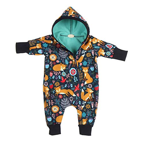 "Lilakind"" Baby Overall Einteiler mit Kapuze Softshell Waldtiere Fuchs Marineblau Gr. 92/98 - Made in Germany"