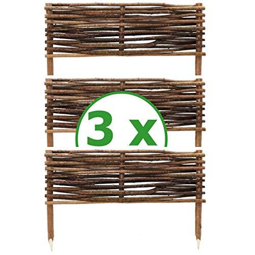 BOGATECO 3 x Haselnuss Beeteinfassung | 20 cm Hoch & 60 cm Lang | Staketenzaun Perfekt als Beet-Umrandung oder Weg-Abgrenzung