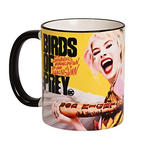 Elbenwald Birds of Prey Tasse Harley Quinn Angel Rundumdruck mit Filmlogo Keramik 320 ml gelb