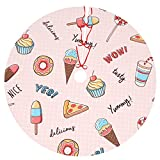 Naoingei Ice Cream and Pizza Donuts Christmas Tree Skirt with Christmas Decoration Party and Holiday Decor