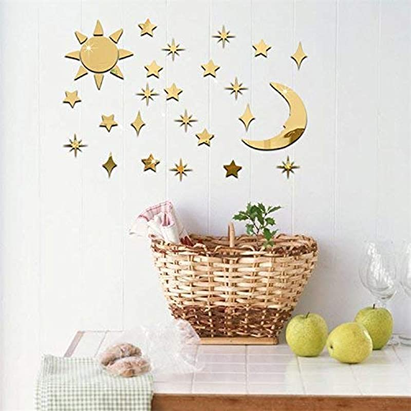 VancyTop Gold Sun Moon Stars Acrylic Mirror Effect DIY Wall Sticker Home Living Room Kids Room Nursery Decoration