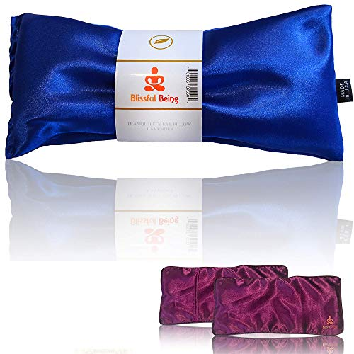Blissful Being Lavender Eye Pillow with Purple Satin Cover- Hot or Cold Aromatherapy Eye Pillow perfect for Naps, Yoga, Meditation - Natural Herbal Relaxation (Sapphire with purple cover bundle)