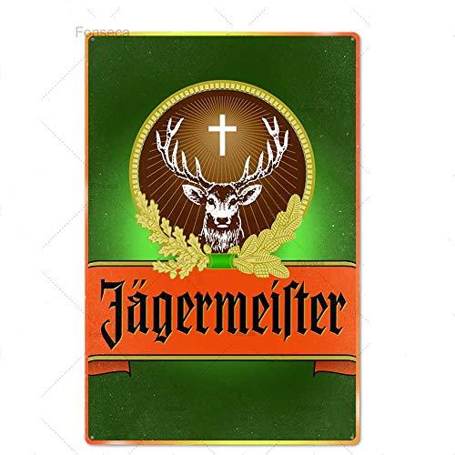 jknnw Jägermeister Metallschild Blechschilder Metallplatte Plakette Metall Vintage Pub Bar Mann Höhle Wanddekoration (20 x 30 cm)