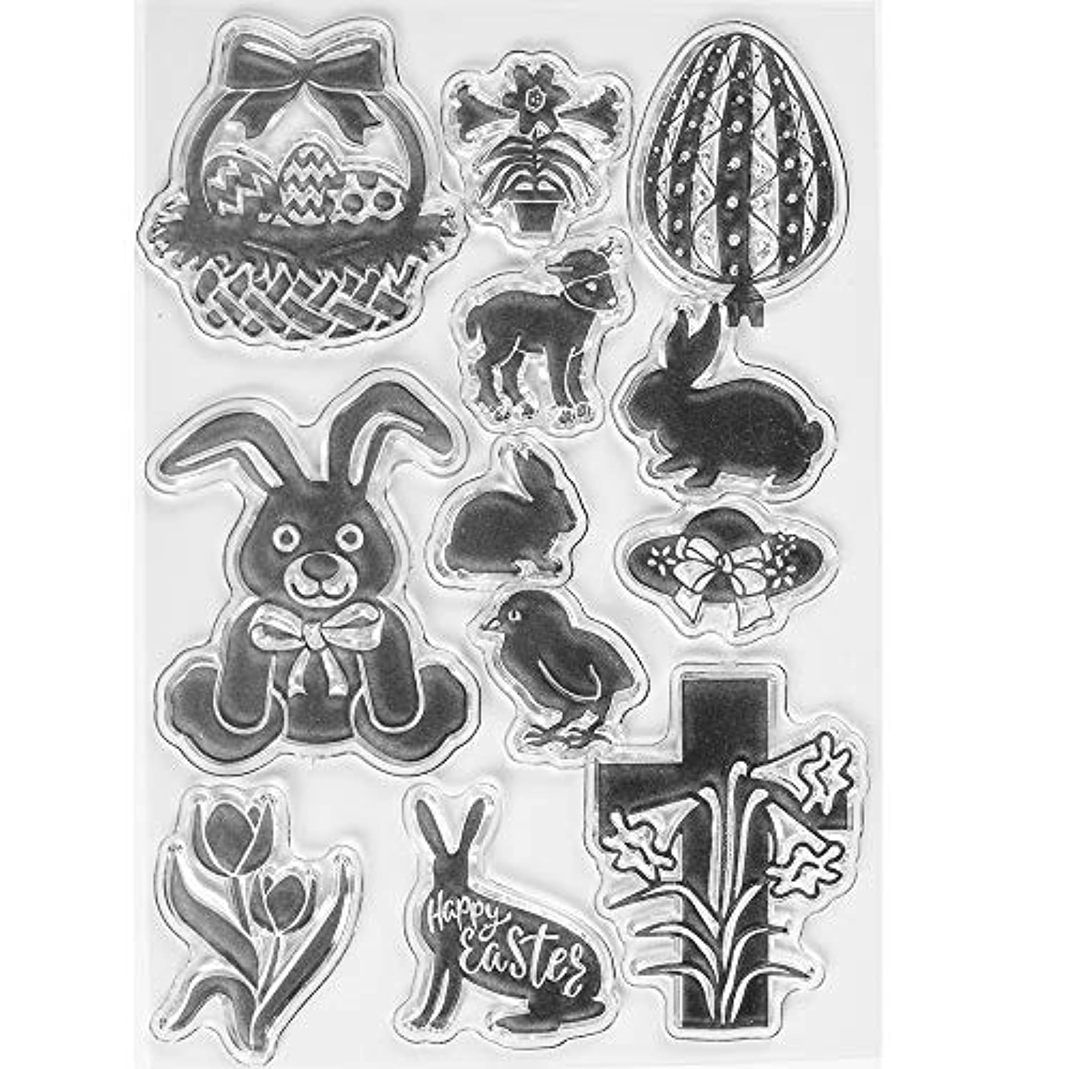 MaGuo Happy Easter Bunny Clear Stamps for Card Making Decoration and DIY Scrapbooking
